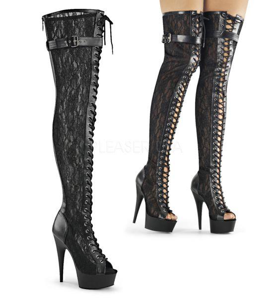 High Heel Overknee Plateau Stiefel Delight-3025ML, Stretchkunstleder mit Spitze kombiniert, Schnürung vorne, zehenfrei,